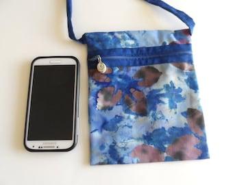Crossbody purse, small travel purse, blue sling purse, small cross body bag, batik fabric purse