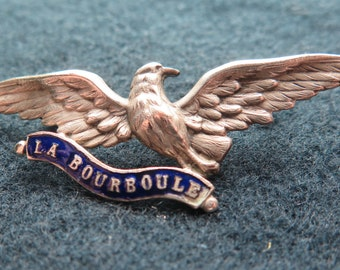 """Antique Rare blue enamel silverplated brooch. Souvenir Jewelry memory """"La Bourboule"""" with bird - Thermal town - Auvergne's Volcano -"""