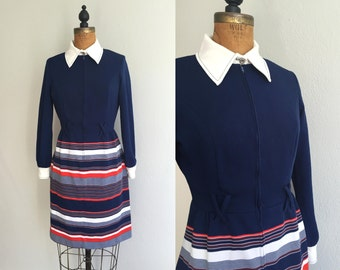 Vintage 1960s Mod Collar Dress / 60s Navy Blue Red White Striped Mod Collar & Cuff Structured Shift Dress with Union Label - Medium