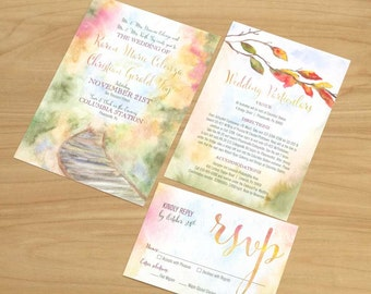 Fall Watercolor Wedding Invitation, Watercolor Wedding Invitation, Watercolor Invitation, Autumn wedding invitation, Fall wedding invite