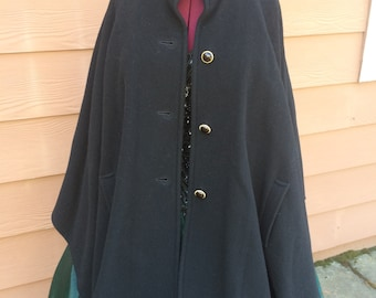 Vintage wool blend black cape