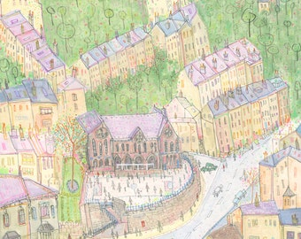 HEBDEN BRIDGE Watercolour, Original Painting, Yorkshire Art, Mixed Media Clare Caulfield, Stubbings School Pencil Drawing, English Houses