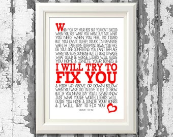 Coldplay - Fix You - Song Lyric Print - 8x10 picture mount & Print Typography self framing (no frame)