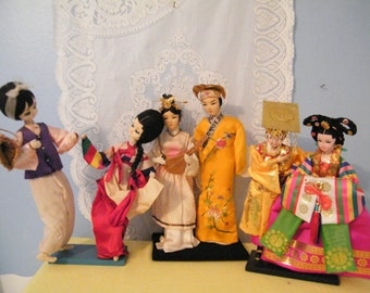 Asian Wedding theme Dolls with cloth faces, 3 Beautiful Displays of love features  Engagement, Romance and wedded bliss collectible