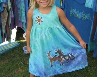 Two Horse Girl's Cotton Sundress