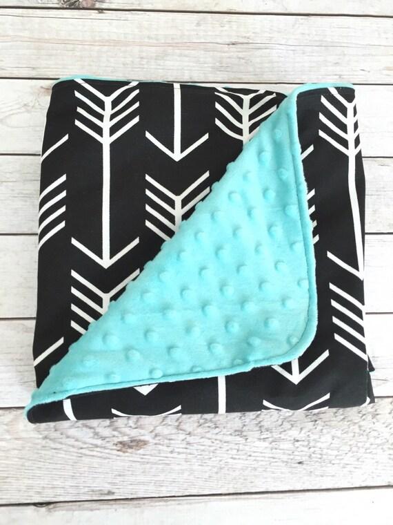 Unisex nursery arrows : Chic gender neutral black baby blanket, arrow blanket with teal ...
