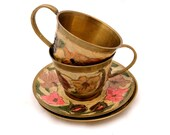 Pair of Floral Brass Tea Cups , Brass Enamel Tea Cup, Decorative Bohemian Brass Cup Set, Floral Indian Brass Cup, Cloisonné Cup and Saucer