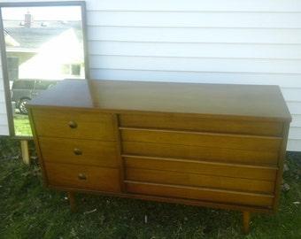 MCM Bassett Dresser W/ Mirror-Vintage, Wood Dresser, Entertainment Center, Nursery Changing Table
