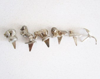 Birthday Cake Candle Holders Animals Set of 6 Vintage Reed and Barton Metal