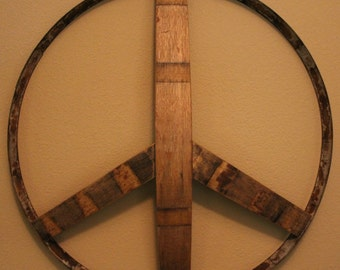 Rustic Wooden Peace Signs handmade and resurrected from aged and weathered Napa Valley and French wine barrels.