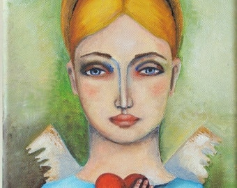 """Free shipping ,Original oil painting on Canvas, Original Painting """"The Angel heart"""""""