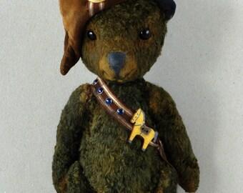 """Artist teddy bear, OOAK, Jointed teddy """"Little Napoleon"""""""
