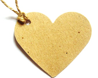 10 Kraft Brown Heart Shaped Tags with Natural Jute Twine  (70mm x 60mm)