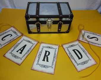 Wedding Reception Gift Card holder  and Money Box suitcase laminated and leather free banner