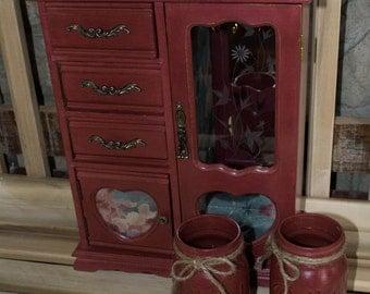 Large Red Shabby Chic Jewelry Box, Barn Red Jewelry Box