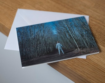If you go down to the woods - a moonlit, long exposure landscape. Fine art photography greetings card. Blank inside.