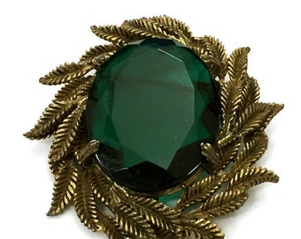 Brooch Sale Emerald Green Glass Brooch, Large Faceted Emerald Green Glass Stone, Layered Antiqued Gold Tone Leaves Surround