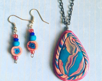 Handmade Marbled Necklace Set