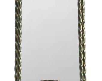 Hollywood Regency Gold Twist Mirror Candleholder