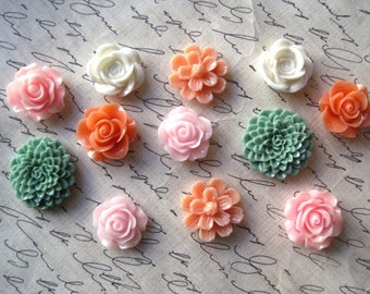 Pretty Magnet Set, 12 pc Flower Magnets, Pink, Coral, Sage Flower Magnets, Locker Magnets, Housewarming Gifts, Hostess Gifts, Wedding Favors
