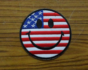 USA Smiley Face Iron on Patch - USA Flag Applique Embroidered Iron on Patch