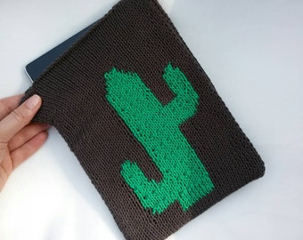 Cactus tablet cover - hand knitted , ecological wool ,  grey , green , cacti , cactus accessories