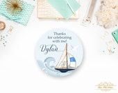 Sail Boat, Watercolor Boat, Vintage Style boat, Boy Birthday Favor Tags-YOU PRINT