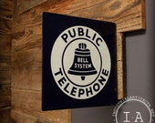 Vintage Bell System Public Telephone  Porcelain Enamel Flange Sign
