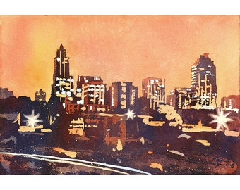Poured watercolor painting of skyline of Raleigh, NC at sunrise.  Watercolor painting Raleigh.  Art Raleigh.  Watercolor Raleigh skyline