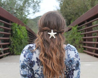 White Knobby Starfish Pinch Clip or Barrette, Mermaid costume, beach wedding hair accessories