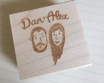 Custom Couple Illustration Stamp for DIY Wedding Favors, Wedding Thank You's, Save the Date // Couple Portrait Stamp, Wedding Portrait Stamp