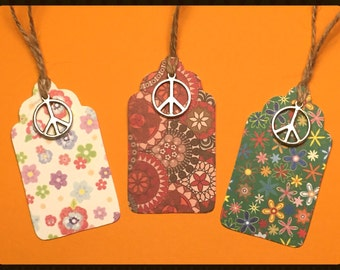 "Tags ""Happy Hippie"" - Handmade Gift Tags, Gift Tags, Peace Gift Tags, Hippy Tags, Hippie Tags, Favor Tags, Holiday Gift Tags, Peace, Tags"