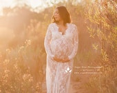 CAMILLE lace maternity gown long sleeve floor length white eyelash