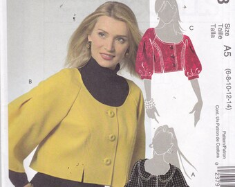 McCalls 5528 Vintage Pattern Womens Cropped Lined Jackets in 3 Variations SIze 6,8,10,12,14 UNCUT