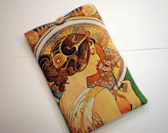 iPad 4 sleeve, eReader case, Fabric tablet sleeve, Galaxy tab case, Kindle Voyage, Nook Simple Touch, Alphonse Mucha Art
