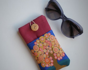 Sunglasses case, Soft eyeglasses case, Case for sunglasses, Quilted eyeglass case, Tree of life