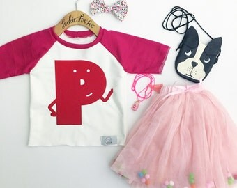 Pink Alphabet Raglan | CHOOSE Your Letter A-Z