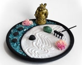 Mini Zen Garden // Laughing Buddha Statue // Random Tumbled Gemstone // Desk Accessory // Meditation // Crystal // DIY Zen // Crescent Moon