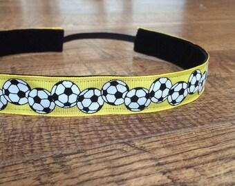 Yellow soccer headband.  Soccer headband, women's soccer headband, girls soccer headband, sports, non slip headband, Soccer hair accessory