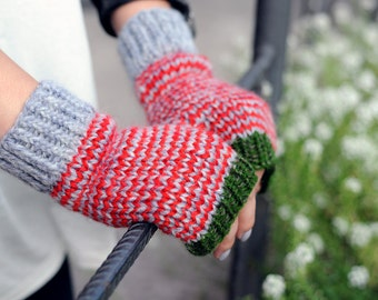Knit fingerless gloves Knit fingerless mittens Fingerless mitts red and green Knit hand warmers Knit wrist warmers Christmas gift for girls
