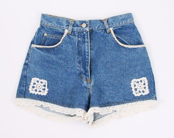 Vintage Denim High Waisted Shorts - Ruffle Trim, Crochet Detail, Applique, Patch, Lace, Eyelet, Size 6, Medium
