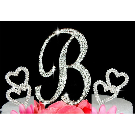Design Your Own Monogram Cake Topper : Custom Monogram Cake Toppers with 2 Hearts Design Crystal