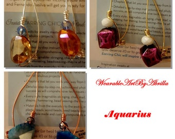 Aquarius .. unique .. dangle earrings .. drop earrings .. wire wrapped