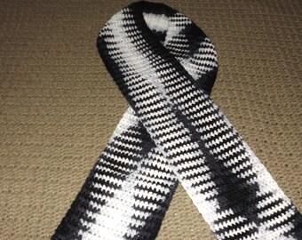 Zebra Stripes Crocheted Scarf/Black &White Crocheted Scarf/Multi Color Crocheted Scarf/Black Grey and White Crocheted Scarf