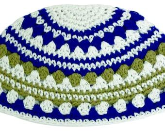 Handmade Frik Kippah Yarmulke Yamaka Colorful Striped Pink Judaism Israel 21cm