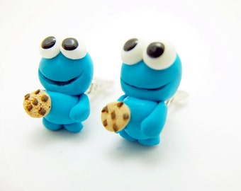 Cookie Monster clip-on earrings