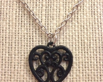 """16"""" Black Filegry Heart Necklace"""