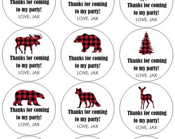 12 Lumberjack Plaid Stickers, Thank You Stickers, Woodland Animals, Red Plaid Labels, Birthday Stickers, First Birthday, Lumberjack Labels