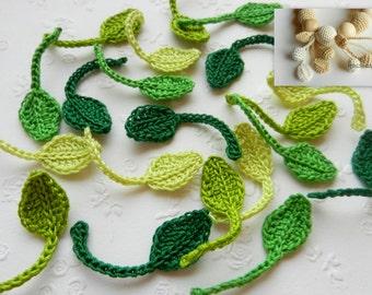 Crochet leaves Set of 5 Small leaves Tiny leaf Leaves with stem Green leaves with stem Leaf with stem Green leaves Irish crochet applique