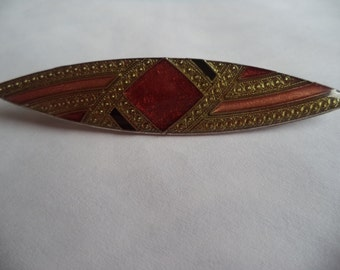 Vintage Unsigned Art Deco Gold/Brownish Red Brooch/Pin